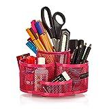 Schreibtisch Ordnungssystem drehbar in pink - hochwertiger und großer Stifteköcher aus Metall - edler Schreibtischorganizer, Stiftehalter, Büro Organizer in modernem Rund Design