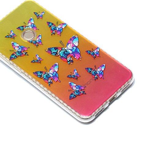 Cover Huawei P8 Lite 2017, Custodia Huawei P8 Lite 2017, Cozy Hut Premium Beautiful IMD Craft Gradient Color Design per Huawei P8 Lite 2017 Cover Custodia Silicone Transparente Pulire Stampa TPU Back  Farfalla colorata
