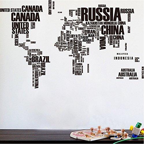 Das Weltkarte Wandtattoo Art Aufkleber Englisch Brief Zitat Wörter Wandaufkleber Schwarz Welt Karte Wandaufkleber Wandmotiv Dekoartikel ( Schwarz)