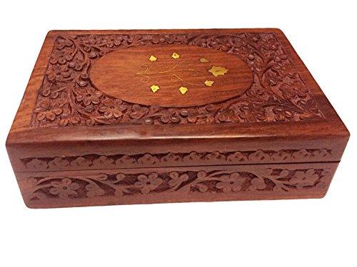 IndiaBigShop Handmade Holz Schmuck Box Ohrring Box Schmuck Aufbewahrungsbox Schmuck Organizer Box Hochzeit Schmuck Box Carving & Messing Arbeit Braun Größe 10 X 6 Zoll (Schmuck Hochzeit Indien)