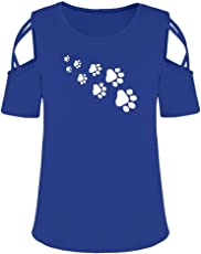 MOSE Dog Paw Print Cute Loose T-Shirt Summer Short Sleeve Print StrHappy Cold Shoulder T-Shirt Tops Blouses