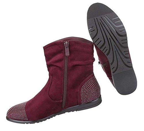 Damen Boots Stiefeletten Schuhe Mit Strass Schwarz Grau Rot 36 37 38 39 40 41 Weinrot