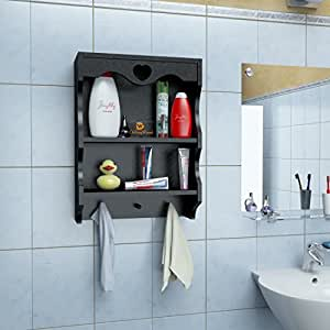 ... RjKart Wooden Bathroom Wall Shelf Mounted 2 Tier Wall Rack Shelves For  Kitchen Wall