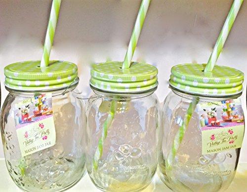 Preisvergleich Produktbild 3 x Grün,  430 ml-Einmachglas Einweckglas,  Vorratsglas,  Tennessee Gläser Glas-Trinkflasche mit Strohhalm / Marmeladendose cocktails