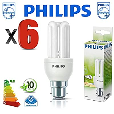 6 X Philips 11 Watt Bc Bayonet Cap Low Energy Compact Fluorescent Light Bulbs Lamps - Equiv 50w - 10,000 Hour Lamp Life Energy Saving Lamp - Branded Quality Bargain 6 Pack - Small Compact In Size