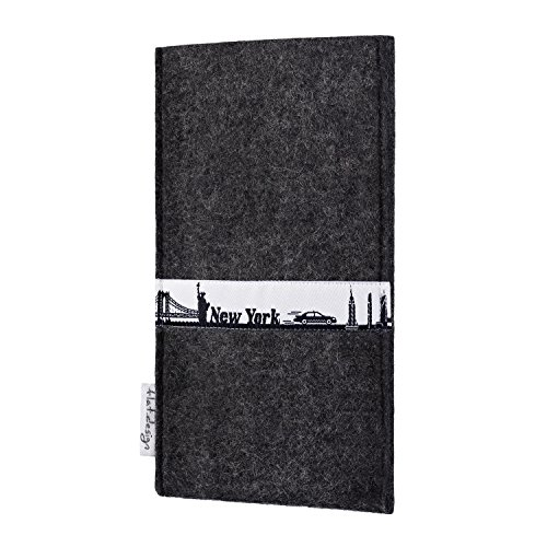 flat.design Filztasche SKYLINE mit Webband New York für Apple iPhone 6s - handgefertigte Hülle aus 100% WollFilz (anthrazit) - Case im Slim fit Design für Apple iPhone 6s anthrazit
