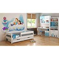 Preisvergleich für Einzelbetten für Kinder Kinder Kleinkind Junior 140x70 / 160x80 / ??180x80 / ??180x90 / 200x90 Kommt mit Schubladen und 10cm Schaummatratze (180x90, Weiß)