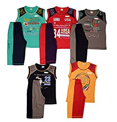 1ly Shirts Boys Sleeveles T-Shirt & 3/4 Set (8906067160157_Multi-Coloured_2-3 Years)