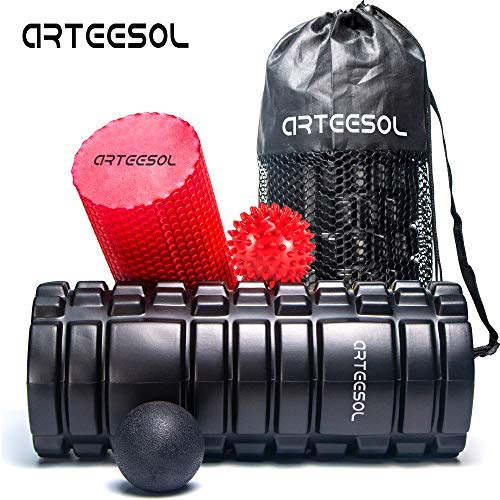 arteesol Faszienrolle Foam Roller 2 in 1 Set mit Massageball Schaumstoffrollen Massagerolle zur Triggerpunkt Selbstmassage Faszientraining Yoga für Damen & Herren - Foam Roller Muskel