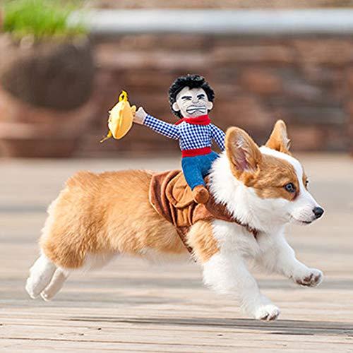 Hotumn Hund Kostüm Haustier Kostüm Pet Anzug Cowboy Rider Stil Hund Halloween-Kostüm Pet Funny Kleidung, S
