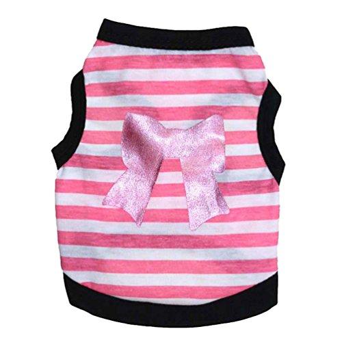 YiJee Niedlich Haustier Hund Kleidung Streifen Bogen Hund Weste Atmungsaktiv Hündchen T-Shirt Pink S