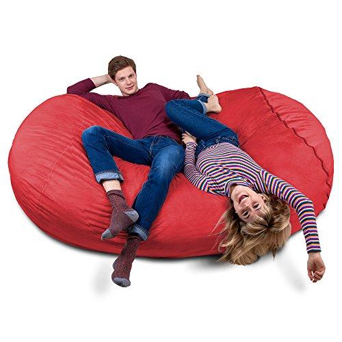 Riesiger Giga Sitzsack in Rot mit Memory Schaumstoff Füllung und Waschbarem Velour Bezug - Gemütliches Sofa, Riesen Bett, Kuschelige Liege, Bean Bag für Kinder, Teenager und Erwachsene