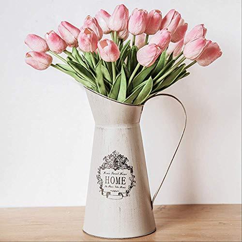 JHZHK 21 stücke Hochzeitsdekoration PU Künstliche Bouquet Real Touch Blumen Tulpe Gefälschte Simulation Blume Home Party Neujahr Decorrosa