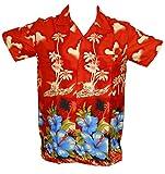 Camisa hawaiana para hombre, diseño de palmeras, para la playa, fiestas, verano y vacaciones - XS - rosso