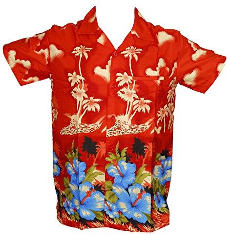 Camisa hawaiana para hombre, diseño de palmeras, para la playa, fiestas, verano y vacaciones - XL - rosso