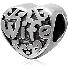 Te quiero Soulbead esposa del encanto del corazón 925 Sterling antiguo de plata del grano de la pulsera encanto europeo