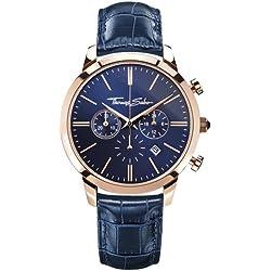 Thomas Sabo Herren-Armbanduhr ETERNAL CHRONO Blue Rosé Chronograph Quarz Leder WA0243-270-209-42 mm