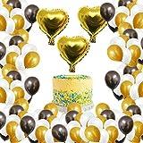 Palloncini per feste (105 pezzi) - Ghirlanda Fai Da Te Set per 30 cm Lattice Palloncini Color Nero, Oro, Bianco con 3 Palloncini in Lamina d'oro a Forma di Cuore Gli Sfondi