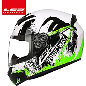 LS2 FF352 Urban Motorbike Racing Full Face Motorcycles Helmet (White, Fluro Green and Black, XXL)