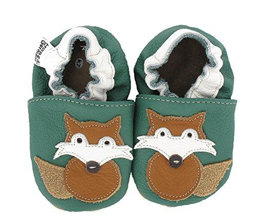 hobea-germany-krabbelschuhe-fuchs-chaussures-bebe-quatre-pattes-1-10-mois-mixte-bebe-vert-dunkelgrun