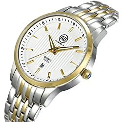 AIBI Wasserdicht Gold Herren-Armbanduhr Analog Quarz Edelstahl Kalender