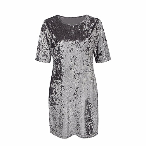QIYUN.Z Les Femmes De La Mode À Manches Courtes Velours Doux Robe Mini Robe Gris