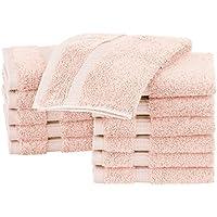 AmazonBasics Pinzon Organic Cotton Blended Washcloths - 12-Pack, Blush