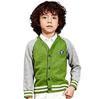 NABER Boys' Classic School Uniform Textured Sweater Cardigan Age 4-13 Years Children, Grey & Green 5-6 yrs