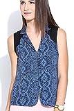Colors Couture Blue Black Notch Collar S...