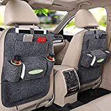 #10: oneOeightdesigns Vehicle Car Back Seat Mounted Hanging Car Seat Organizer Bag Set of 2 Pieces (Dark Grey)