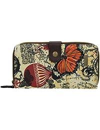 SwankySwans Atlantis Grand portefeuille à deux volets Motif carte et papillon vintage