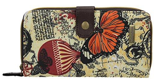 SwankySwans, Portafoglio da donna SwankySwans Atlantide, con Ddesign vintage-schede motivo  e farfalla, grande, stampatoi, a ribalta