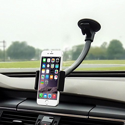 Cell Phone Holder for Car, Whirldy, 10.6in Long Arm, Universal Car Cradles Mounts Windshield / Dashboard for iPhone 7 Plus 6 Plus 6S 5S SE Samsung Galaxy S8 S6 S7 Edge 7 Nexus Stands