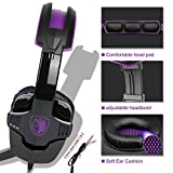 SA930 3.5mm Stereo Gaming Headset with Microphone Over Ear Headphones for PC/MAC/PS4(Purple)