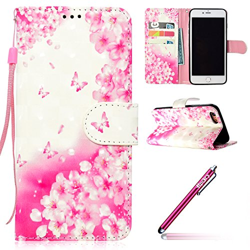 Etui Housse Coque pour iPhone 7/iPhone 8,PU Leather Case for iPhone 7/iPhone 8,Hpory élégant Fashion 3D Design Colorful Painted with Lanyard PU Cuir Case Book Style Folio Stand Fonction Support PU Lea Fleurs roses