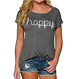 LAEMILIA Damen T-Shirt Kurzarm O-Ausschnitt Casual Bluse Tops Hemd Grau