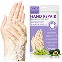 3 pares manos guantes hidratantes, reparación de la piel de la mano renovar máscara con colágeno, suero + vitaminas + extractos de plantas naturales para seco, envejecimiento, manos agrietadas