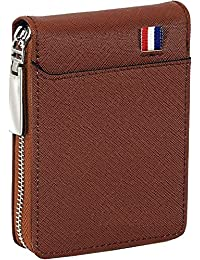 Techno Buzz Deal Imported 9 Slot Vertical Leather Credit/Debit Zipper Card Holder Money Wallet Zipper Coin Purse for Men & Women – Brown