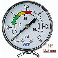 """Manómetro ABS 840003ABS para filtro de piscina, fijación trasera, empalme axial, Manómetro con rosca 1/4"""" – MT – Jardiboutique"""