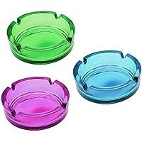 COM-FOUR® 3x portacenere di vetro, posacenere in vetro in colori vivaci
