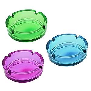 com-four® 3X Aschenbecher aus Glas – klarer Glasaschenbecher für Zigaretten – Ascher für Privat und Gastronomie – aus 5 mm dickem, Buntem Glas (03 Stück – bunt)