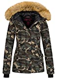 Navahoo warme Damen Winter Jacke Winterjacke Parka Mantel Kunstfell B392 (M, Camouflage - Army)