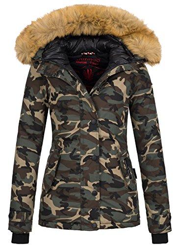 Navahoo warme Damen Winter Jacke Winterjacke Parka Mantel Kunstfell B392 (XL, Camouflage - Army)