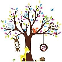 Soledi adhesivo decorativo para pared infantil de ¨¢rbol selva Peel & stick Wall Decal ardilla ¨¢rbol de monos los ni?os dormitorio