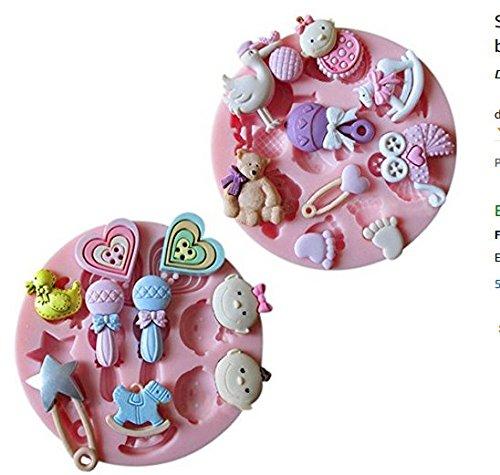 Naisidier Silikon Fondantform Kuchen Decoration Handwerk Schokolade Silikonform Baby Car 2 PCS Kuchenform