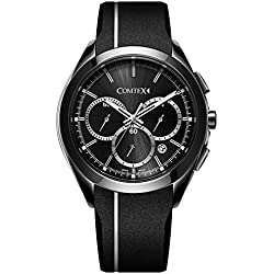 Comtex Men's Quartz Watch with Black Silicone Band White Line Chronograph Sports Watch
