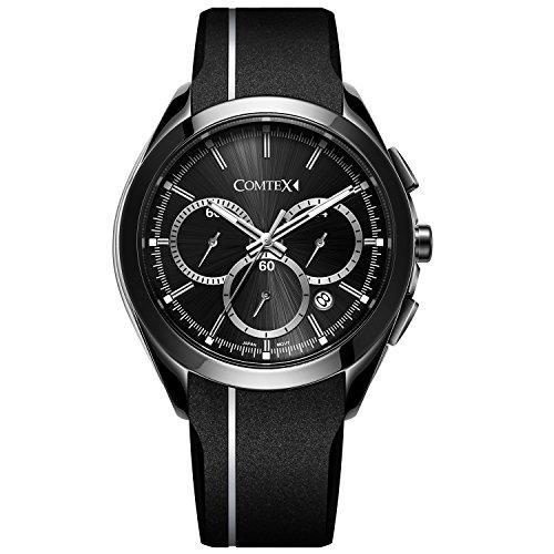 Comtex Herren Armbanduhr Analog Quarz mit schwarzem Silikon Band Weiß Line Sport Armbanduhr