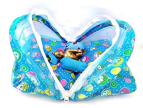 krishnagallery Super Soft Cotton Net Luxury Night Bed Laddu Gopal Bister,Standard(Blue)