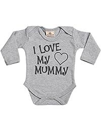 I Love Mummy Babygrow - Baby Onesie - Baby Vest Grey