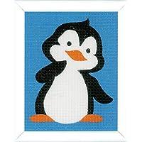 Vervaco Pinguin Anfänger-Stickpackung vorgezeichnet, Baumwolle, Mehrfarbig, 12.5 x 16 x 0.3 cm